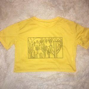 Yellow cactus crop top